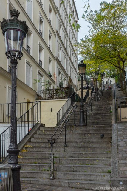 The Stairway on Rue Chappe viewed from Rue André Barsacq, Montmartre, Paris
