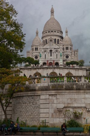 Sacré-Cœur, as seen from the base of the butte Montmartre, Paris