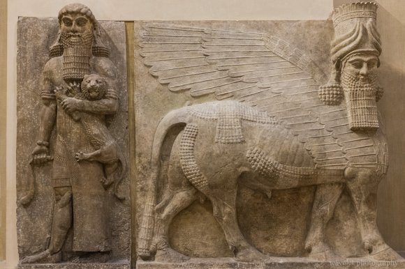 Human-headed winged bull from the palace of Sargon II of Assyria, Cour Khorsabad of Musée du Louvre, Paris
