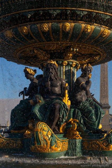 Fontaine des Mers in the morning, Place de la Concorde, Paris