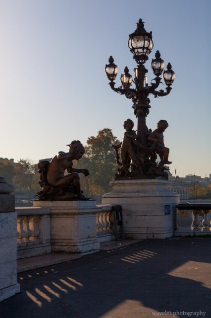 Lamp posts and statues on Pont Alexandre III, Paris