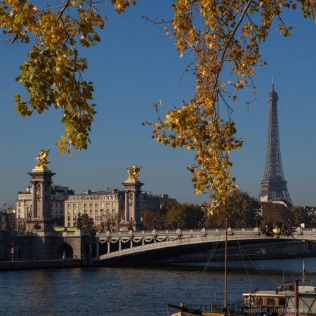 Pont Alexandre III and Eiffel Tower, Paris in autumn