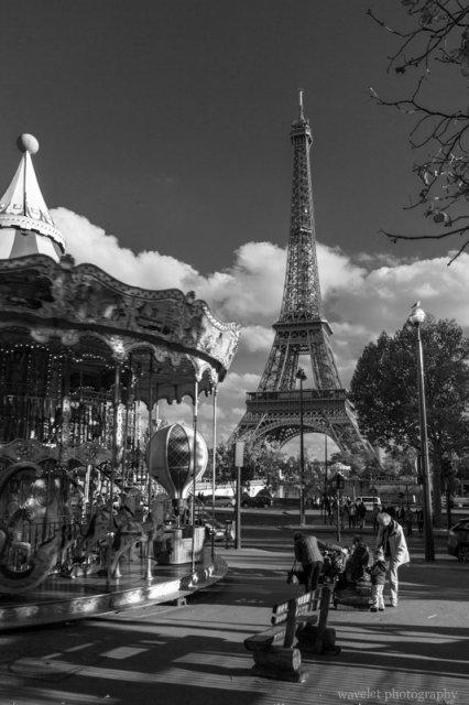 Carrousel de la Tour Eiffel and Eiffel Tower, Paris