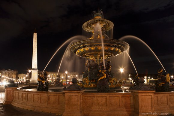 Fountain of Maritime Navigation and Obelisk at Place de la Concorde, Paris