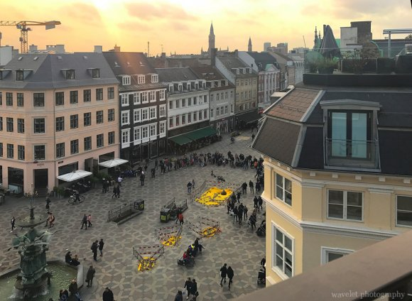 Overlook Amagertorv Square from Illum rooftop, Copenhagen