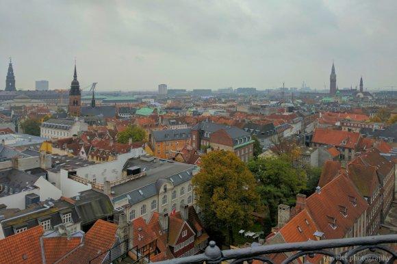 Overlook Copenhagen downtown from Rundetaarn, Copenhagen