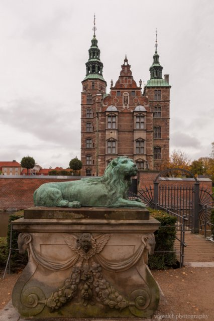 Lion statue in front of Rosenborg Castle, Copenhagen