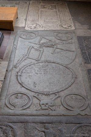 The dance of death on grave slabs in the Tradesmen's Chapel (Krämarekapellet) at St. Peter's Church, Malmö