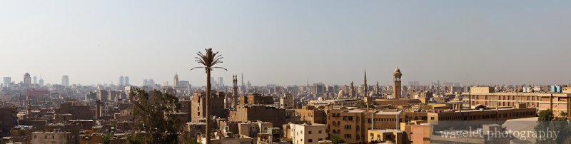 Islamic Cairo Panorama from Citadel View Restaurant in Al-Azhar Park