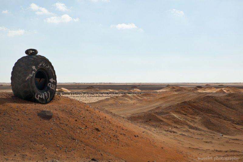 Huge Tire as Road Mark