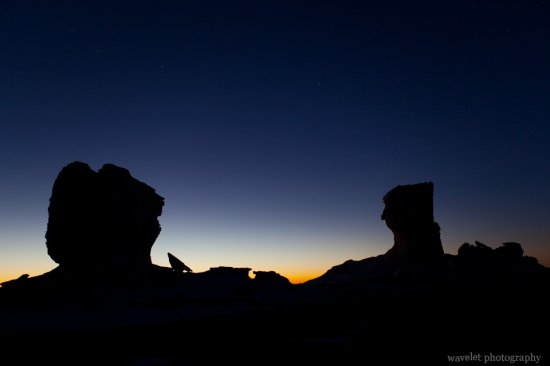 Silhouette of Rocks in White Desert Half an Hour before Sunrise