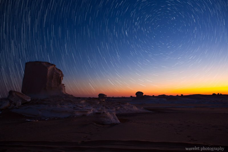 Star Trail in White Desert before Sunrise