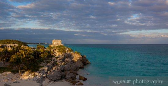 Tulum Temple against the Caribbean Sea