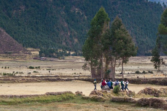 Students practicing dancing, Sacred Valley