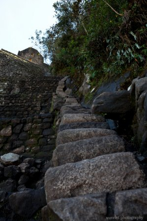 Steep Stair close to Peak of Huayna Picchu