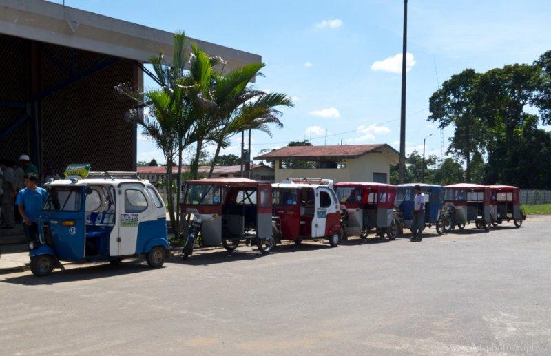 Motocarroes outside of Puerto Maldonado Airport