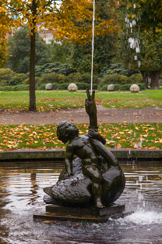 Boy on a Swan, a fountain in Rosenborg Castle Garden, Copenhagen