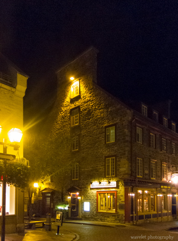 Night scene of Rue Saint-Jean, Quebec City