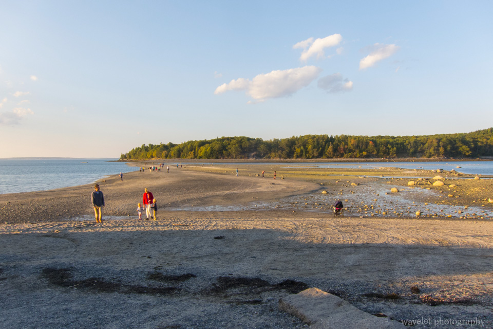 Pass from Bar Harbor to Bar Island during low tide, Acadia National Park, Maine