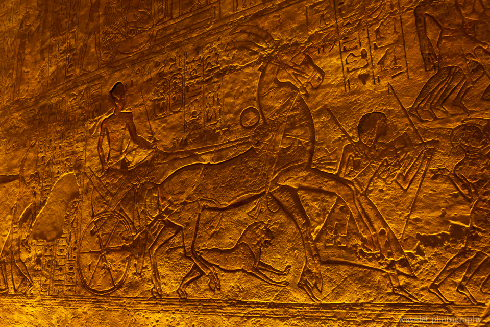 Reliefs about Ramesses\' military campaign in the Great Temple