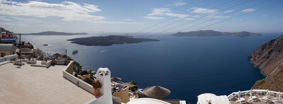 Caldera View from the Balcony of Efterpi Villas, Santorini