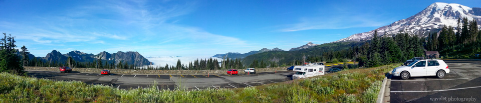 Panorama view from Nisquallly parking lot, Mt. Rainier