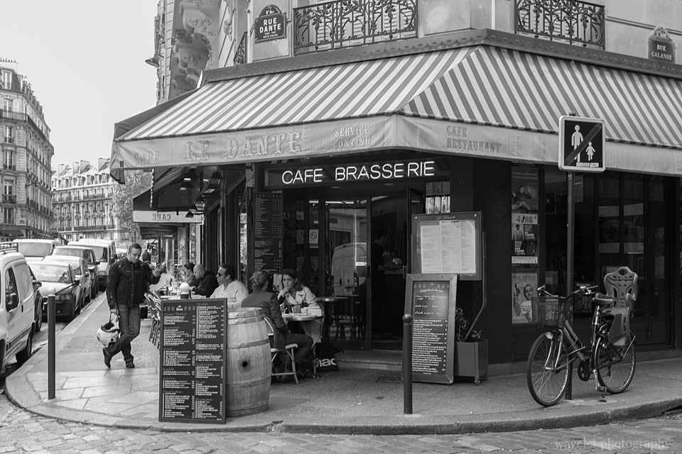 A cafe at the corner of Rue Dante and Rue Galande, Latin Quarter, Paris