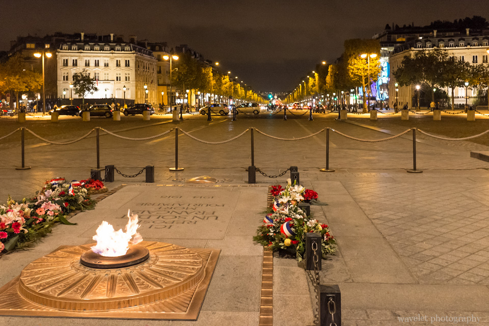 Eternal Flame at the Arc de Triomphe facing the Champs-Élysées, Paris