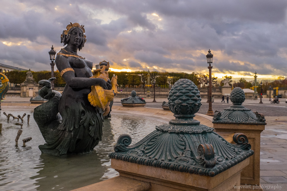 La Fontaine des Fleuves at Place de la Concorde with Jardin des Tuileries in the background, Paris