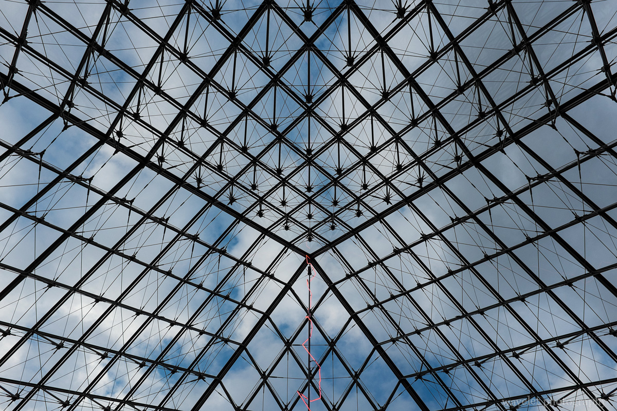 Look through the Louvre Pyramid in Palais du Louvre, Paris