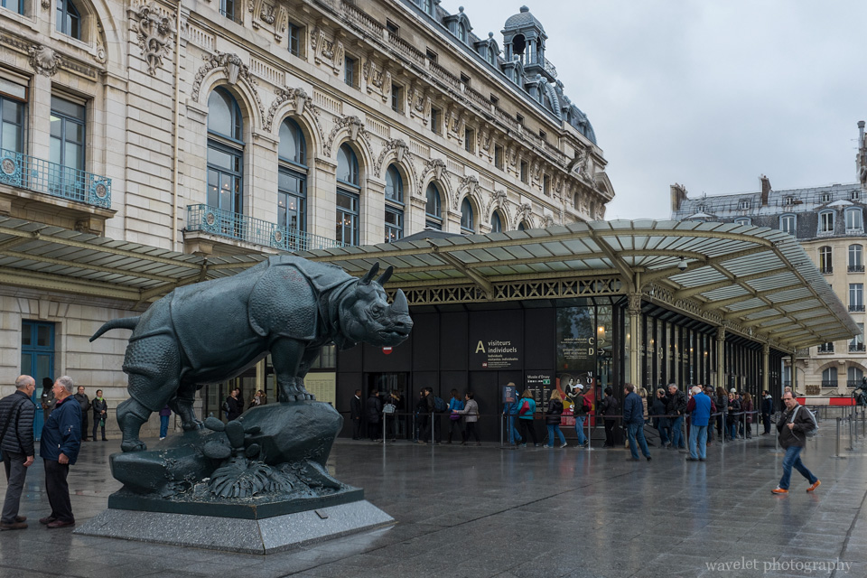 Entrance of Musée d'Orsay and the Rhinocéros by Alfred Jacquemart, Paris
