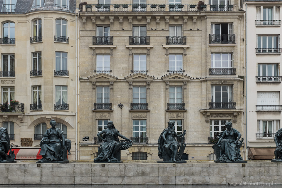 The statues of the six continents at the esplanade of the Musée d'Orsay, Paris