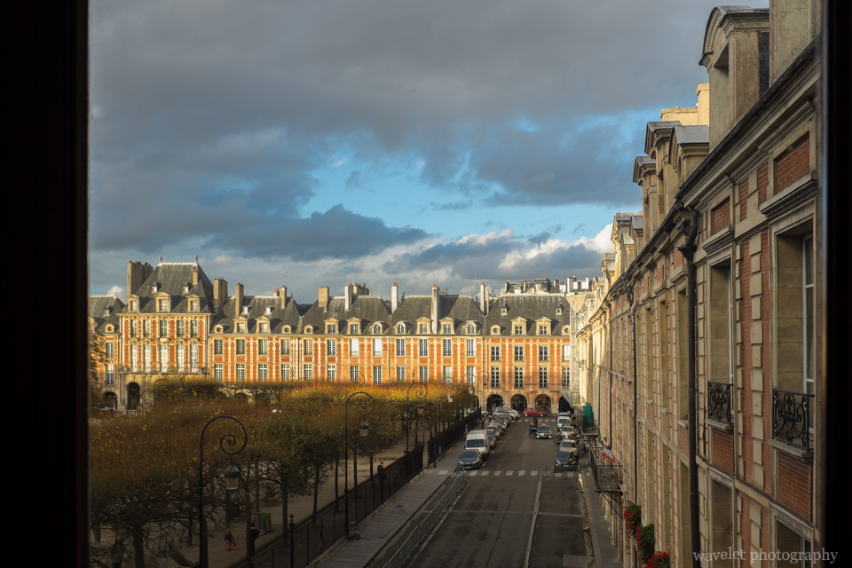 View Place des Vosges from Maison de Victor Hugo, Paris