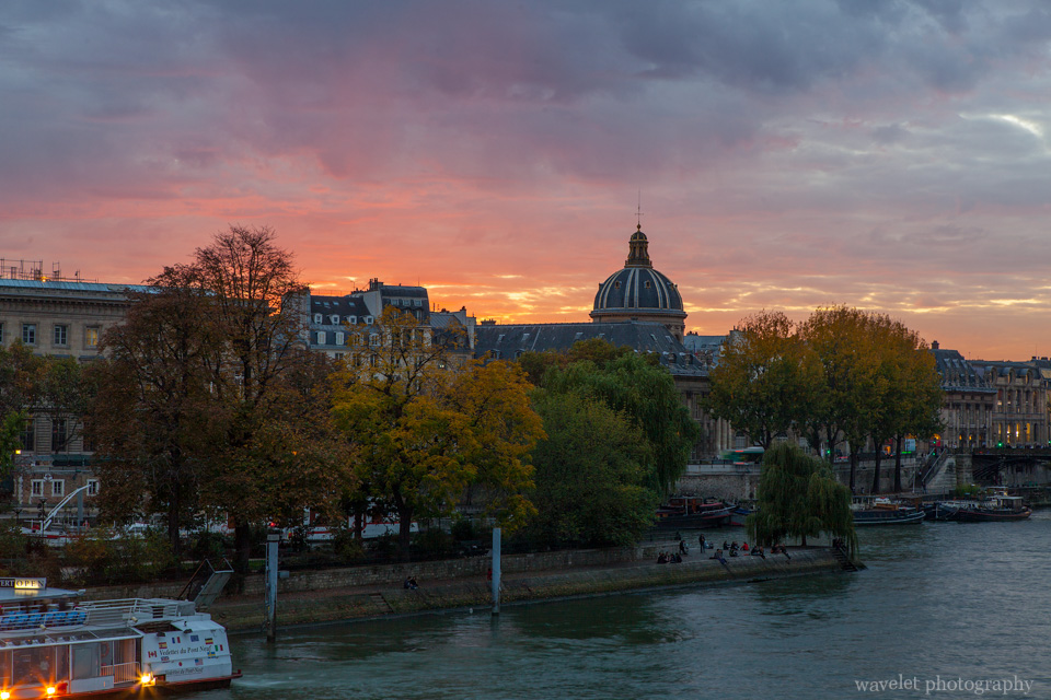 The western end of Île de la Cité and Institut de France, Paris