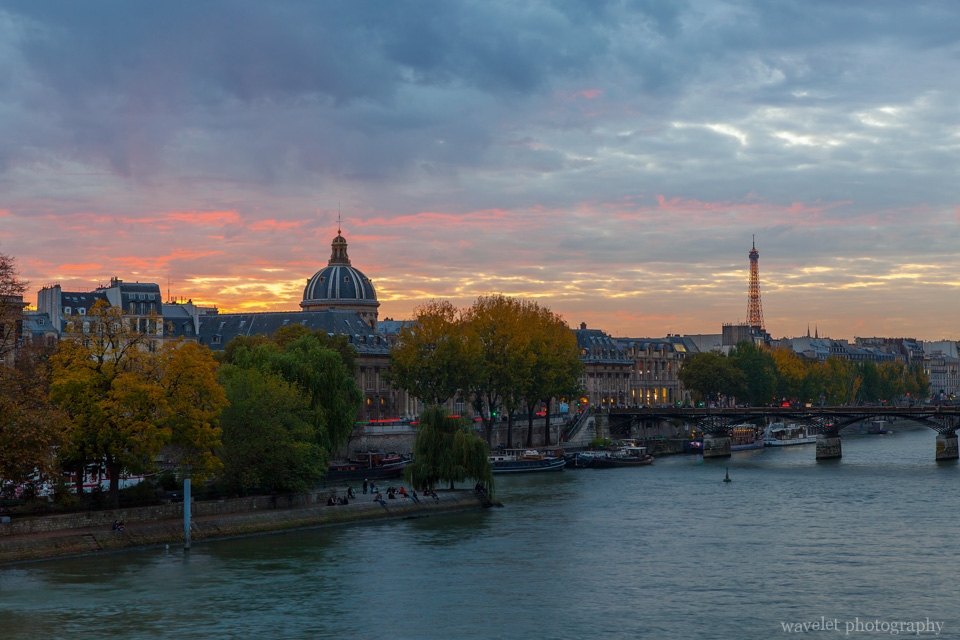 The western end of Île de la Cité, Institut de France and Pont des Arts, Paris