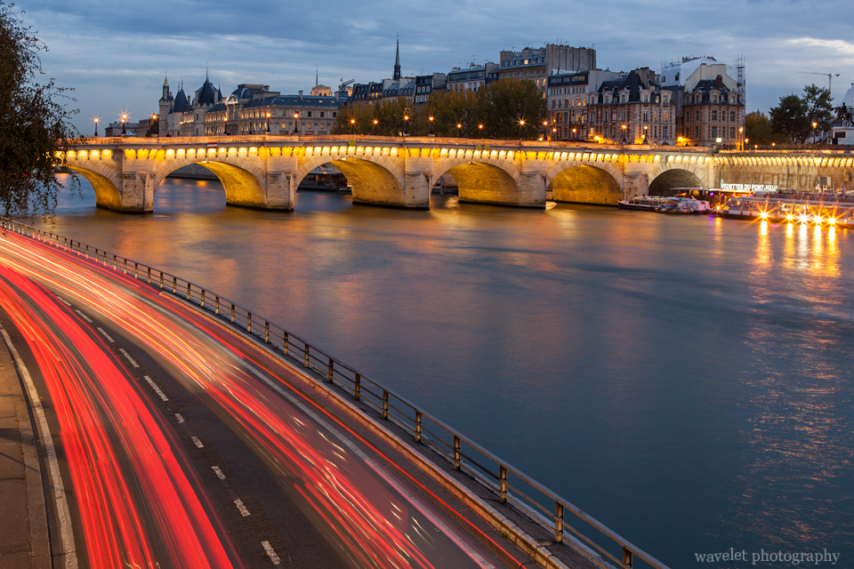 The Seine and Pont Neuf at nightfall, Paris