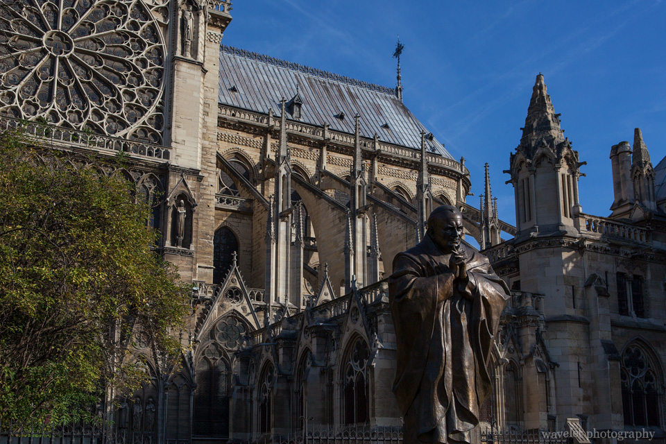 Pope John Paul II statue and the South Rose Window, Notre-Dame, Paris