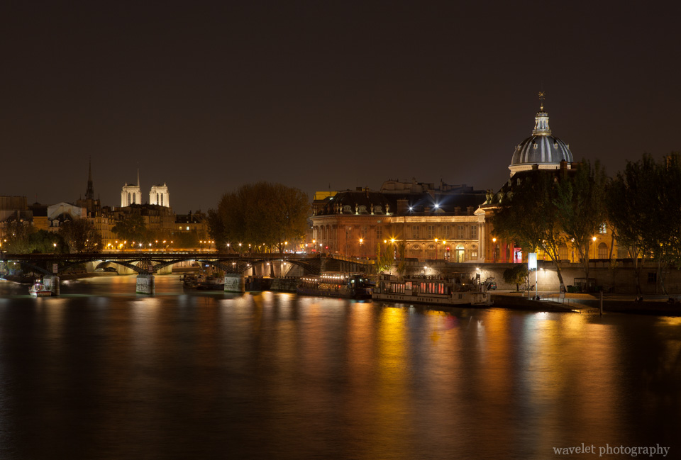 Institut de France and Pont des Arts with Notre-Dame at the background, Paris