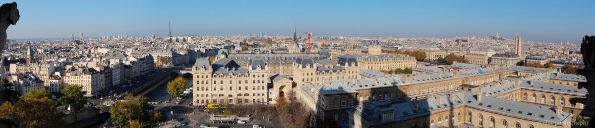Overlook Paris from the tower of Notre-Dame de Paris