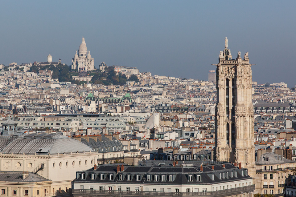 Overlook Sacré-Cœur with Saint-Jacques Tower in the foreground from Notre-Dame de Paris