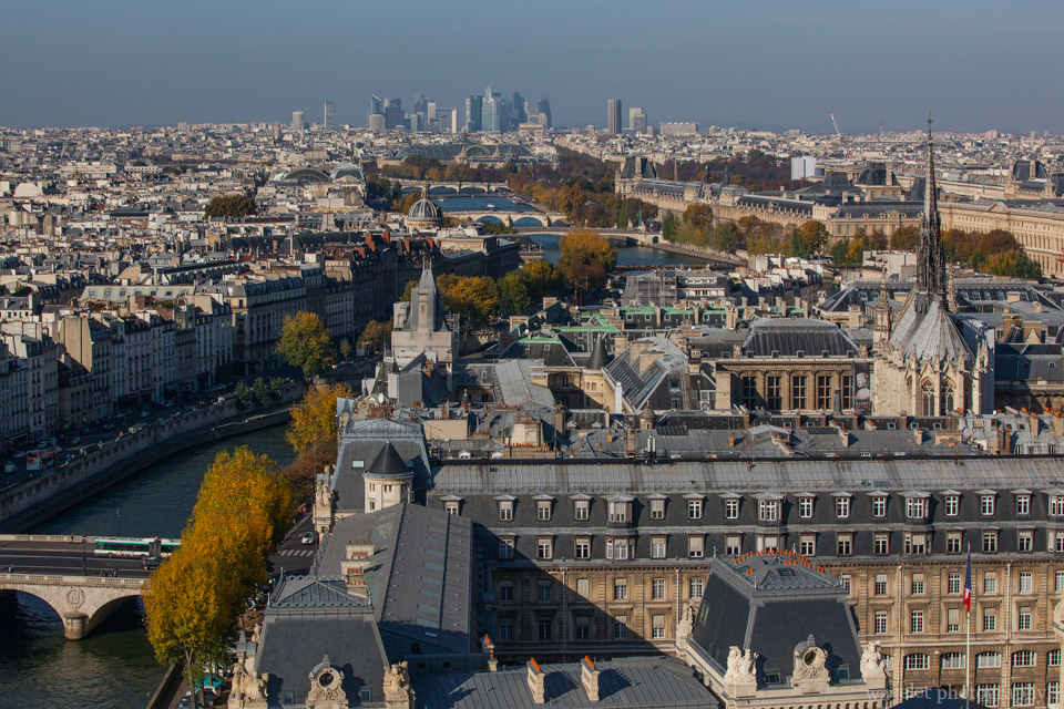Overlook River Seine and La Défense from the top of the bell tower of Notre-Dame de Paris