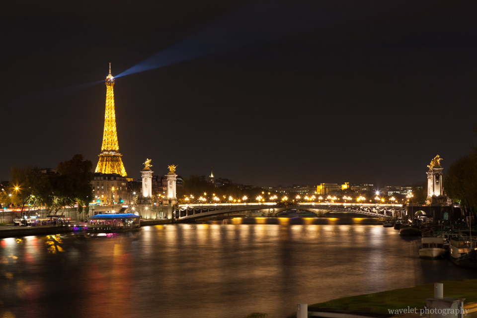 Pont Alexandre III and Eiffel Tower in the night, Paris