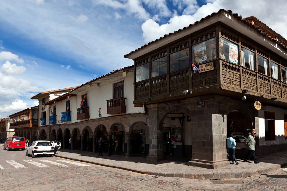 Wooden Balconies on Plaza de Armas, Cusco