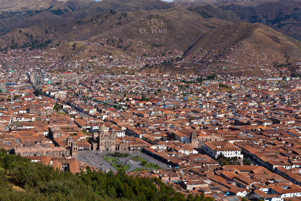 Overlook Plaza de Armas from Sacsayhuamán,  Cusco
