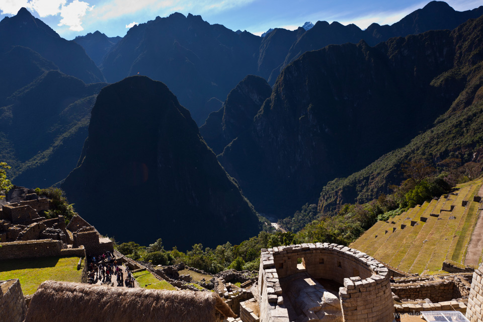 The Temple of the Sun and surrounding mountains