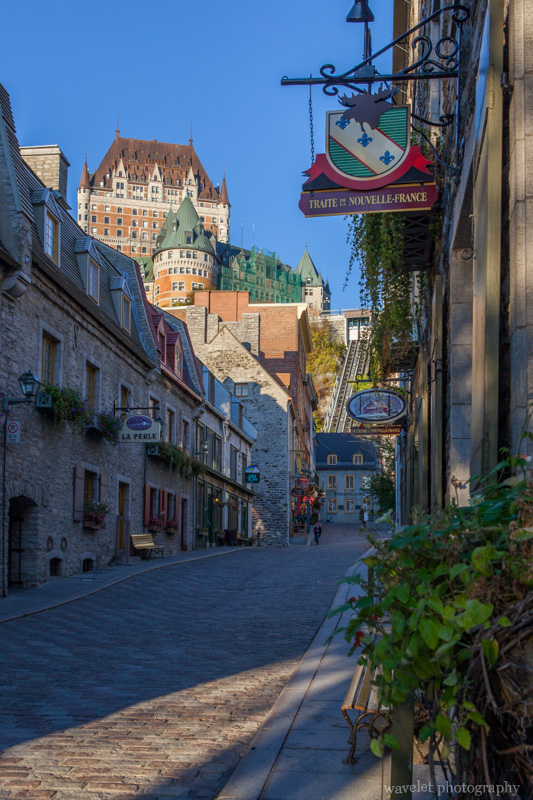 View Château Frontenac from Rue Sous le Fort, Quebec City