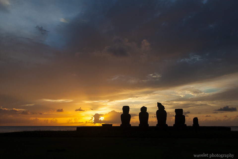 Ahu Tahai in sunset, Easter Island
