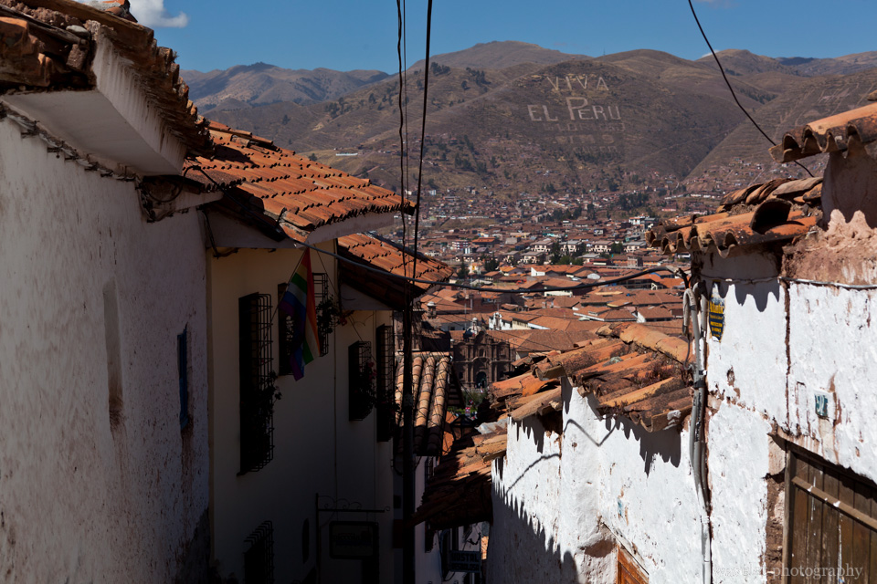 Overlook Cusco and Plaza de Armas from the street near Colcampata Hill,  Cusco