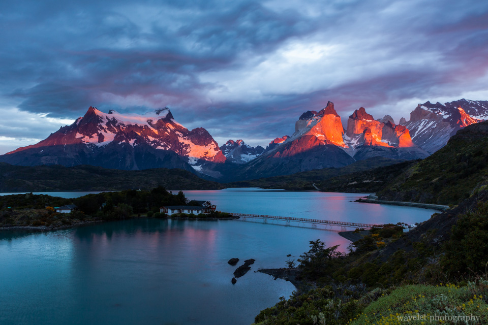 Sunrise over Logo Pehoé, Torres del Paine National Park