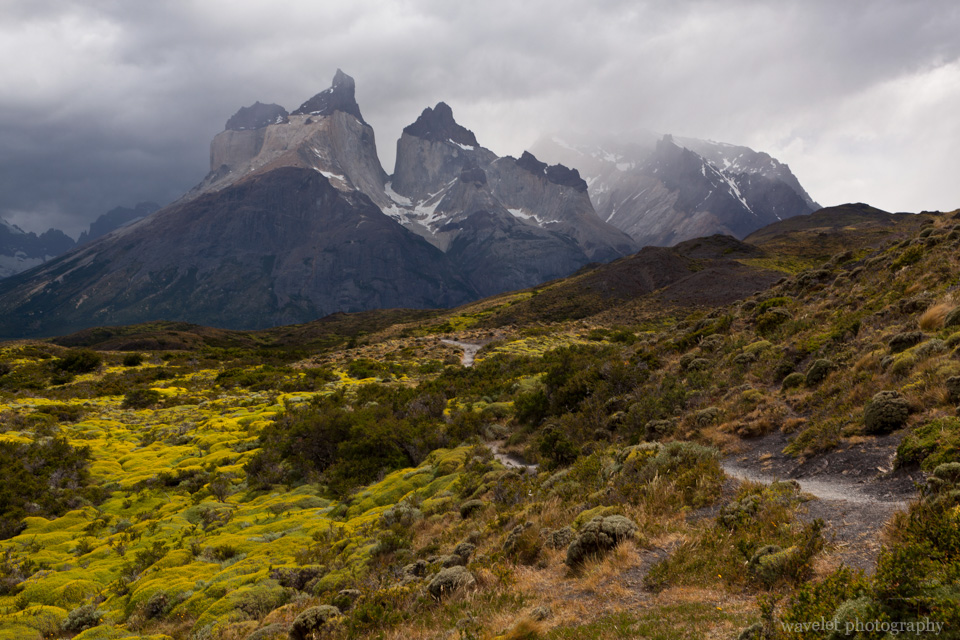 Stormy weather over Cuernos del Paine, Torres del Paine National Park
